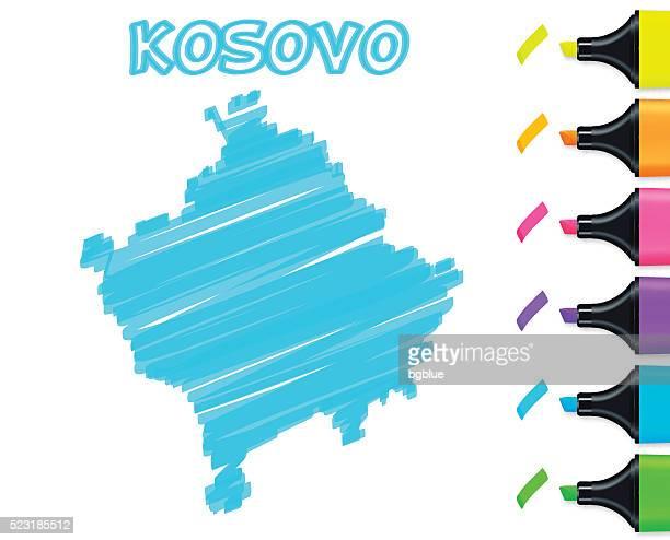 Kosovo map hand drawn on white background, blue highlighter