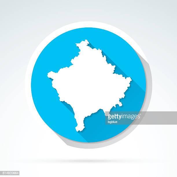 Kosovo map icon, Flat Design, Long Shadow