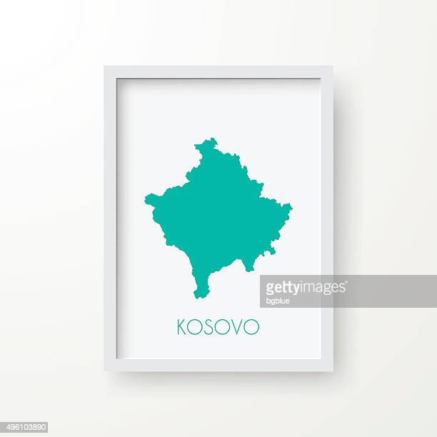 Kosovo Map in Frame on White Background