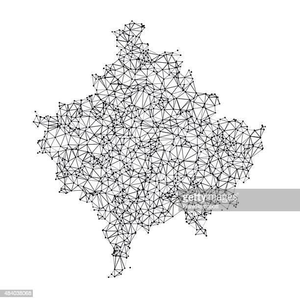 Kosovo Karte Netzwerk schwarz und weiß