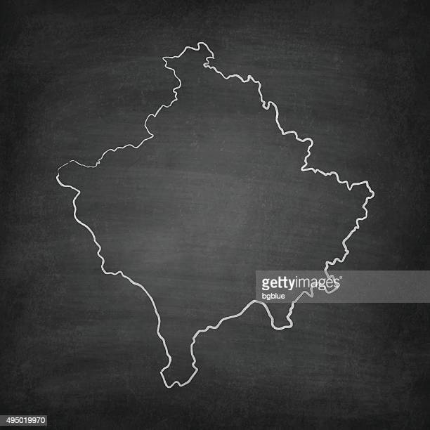 Kosovo Map on Blackboard - Chalkboard