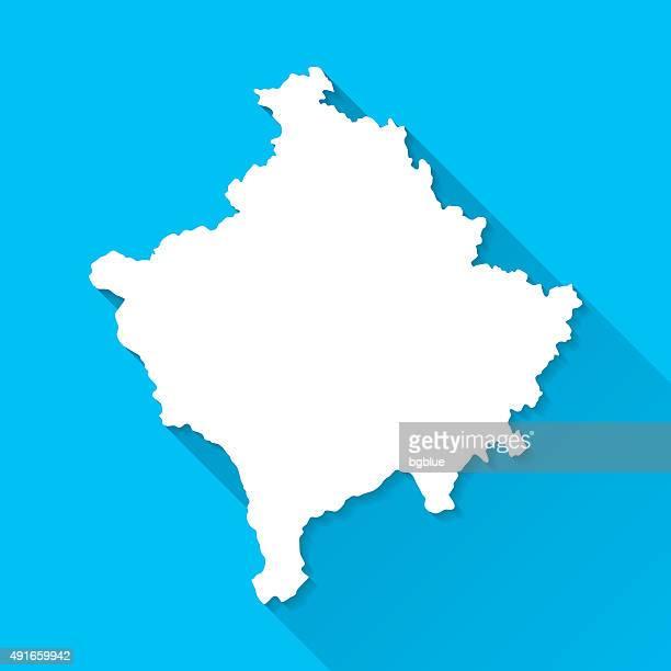 Kosovo Map on Blue Background, Long Shadow, Flat Design