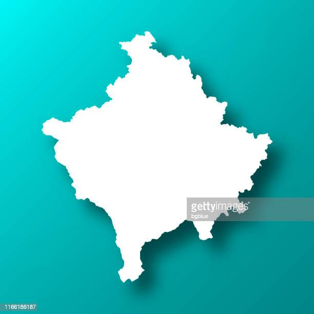 Kosovo map on Blue Green background with shadow