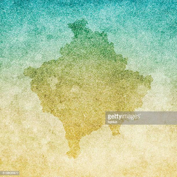 Kosovo Map on grunge Canvas Background