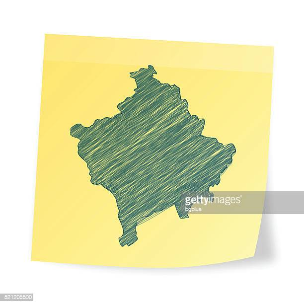 Kosovo map on sticky note with scribble effect