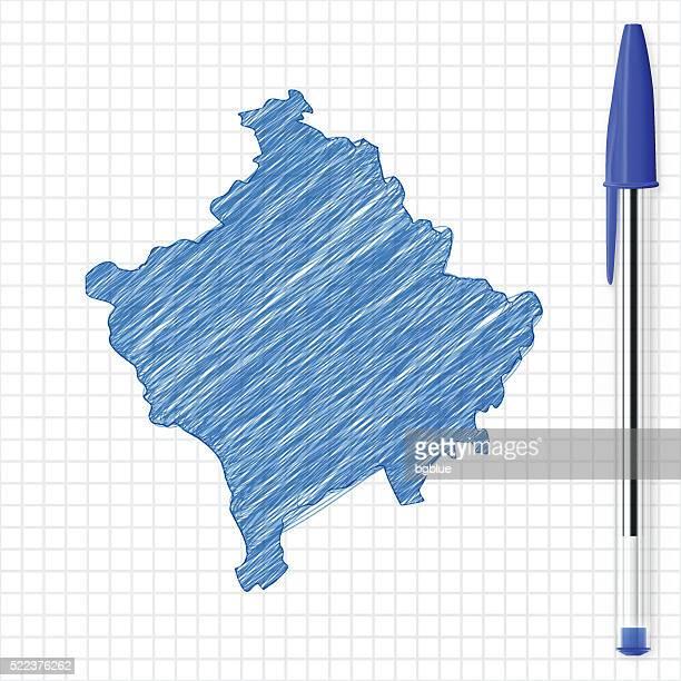 Kosovo map sketch on grid paper, blue pen