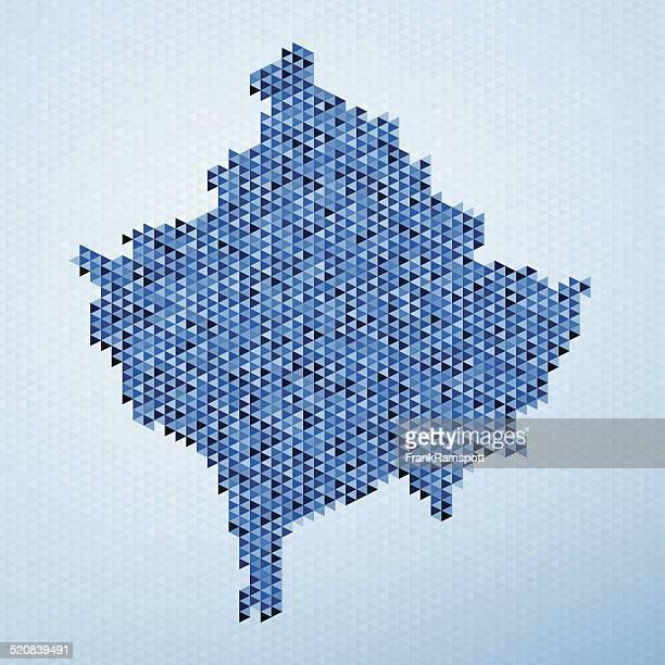 ilustraciones, imágenes clip art, dibujos animados e iconos de stock de mapa de kosovo patrón de triángulo azul - frank ramspott