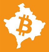 Kosovo map with bitcoin crypto currency symbol illustration