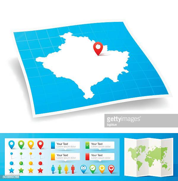 Kosovo Map with location pins isolated on white Background