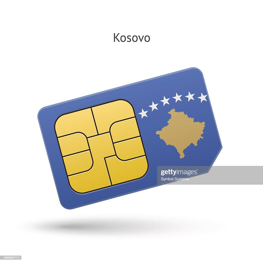 Kosovo mobile phone sim card with flag