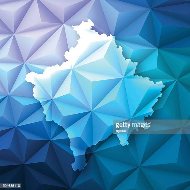 Kosovo on Abstract Polygonal Background - Low Poly, Geometric