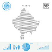 Kosovo People Icon Map. Stylized Vector Silhouette of Kosovo. Population Growth and Aging Infographics