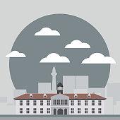 Kota Tua vector flat design