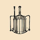 Kraft beer kettle illustration. Old brewery poster. Lager retro sign with hand sketched tank. Vector ale label or badge.