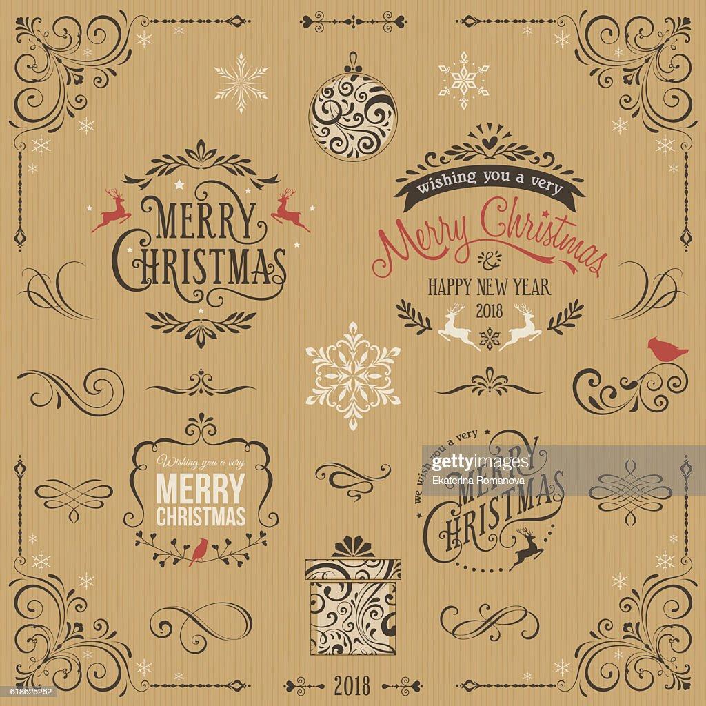 Kraft Ornate Christmas Typographic Set