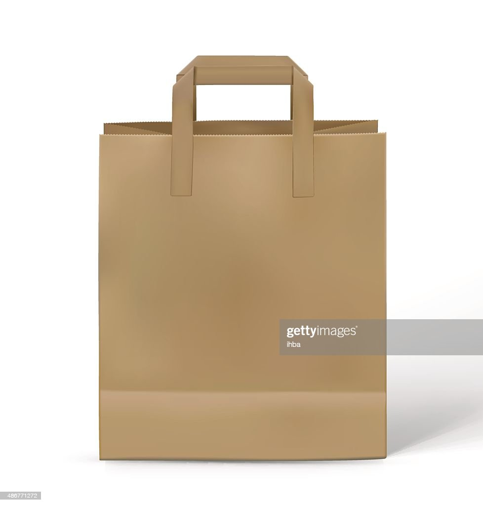 Kraft paper bag isolated on white background. Vector illustration
