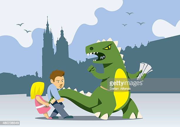 krakow dragon handing out leaflets, teased by two children - eastern europe stock illustrations, clip art, cartoons, & icons