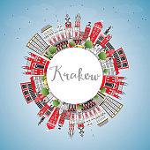 Krakow Poland City Skyline with Color Buildings, Blue Sky and Copy Space.
