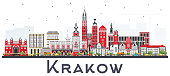 Krakow Poland City Skyline with Color Buildings Isolated on White.
