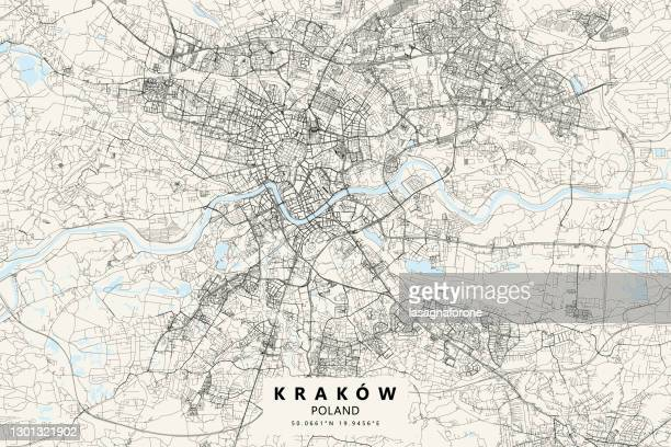 illustrazioni stock, clip art, cartoni animati e icone di tendenza di mappa vettoriale di cracovia, polonia - polonia