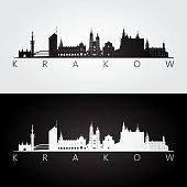 Krakow skyline and landmarks silhouette, black and white design, vector illustration.