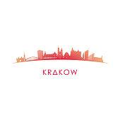 Krakow skyline silhouette. Vector design colorful illustration.