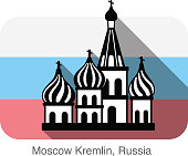 Kremlin silhouetta, famous landmark series