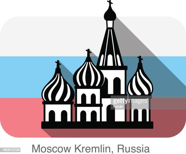 kremlin silhouetta, famous landmark series - red square stock illustrations, clip art, cartoons, & icons