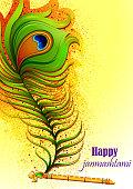 Krishna flute on Happy Janmashtami India background