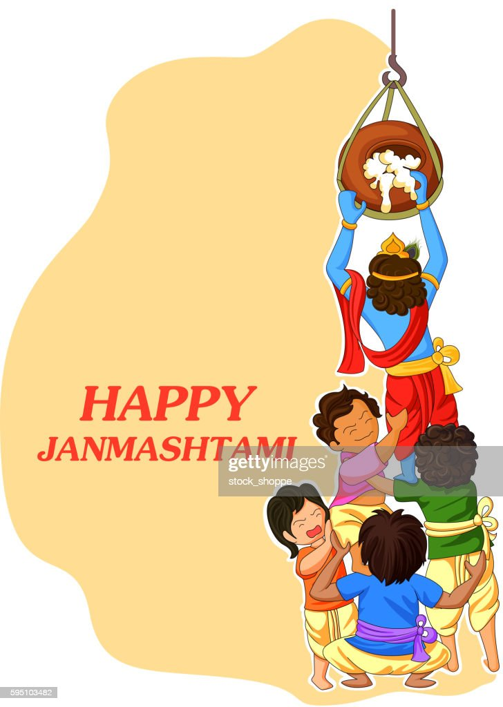 Krishna with friends playing dahi handi in Janmashtami