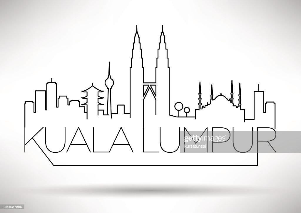 Kuala Lumpur City Line Silhouette Typographic Design