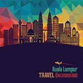 Kuala Lumpur detailed skyline. Vector illustration