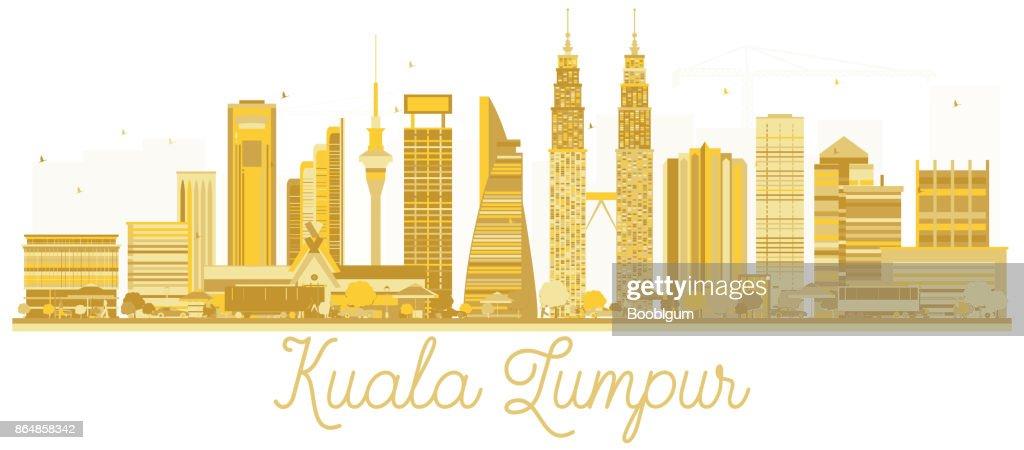 Kuala Lumpur Malaysia City skyline golden silhouette.