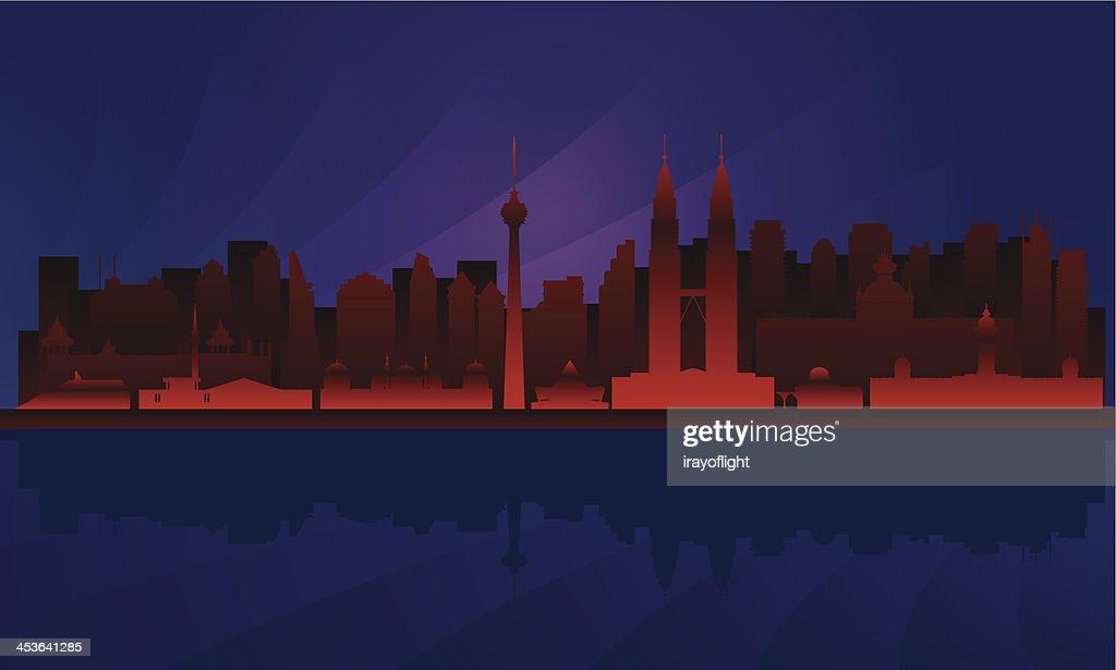 Kuala Lumpur night detailed city skyline