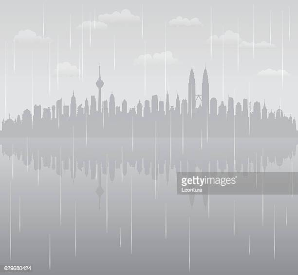 kuala lumpur rain (all buildings are complete and moveable) - monsoon stock illustrations, clip art, cartoons, & icons