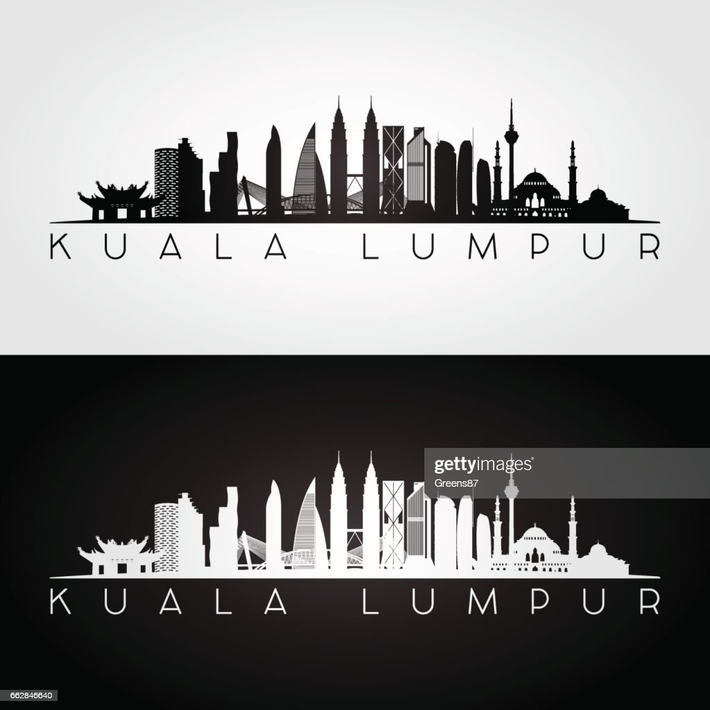 Kuala Lumpur skyline and landmarks silhouette, black and white design, vector illustration.