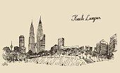 Kuala Lumpur skyline engraved hand drawn sketch