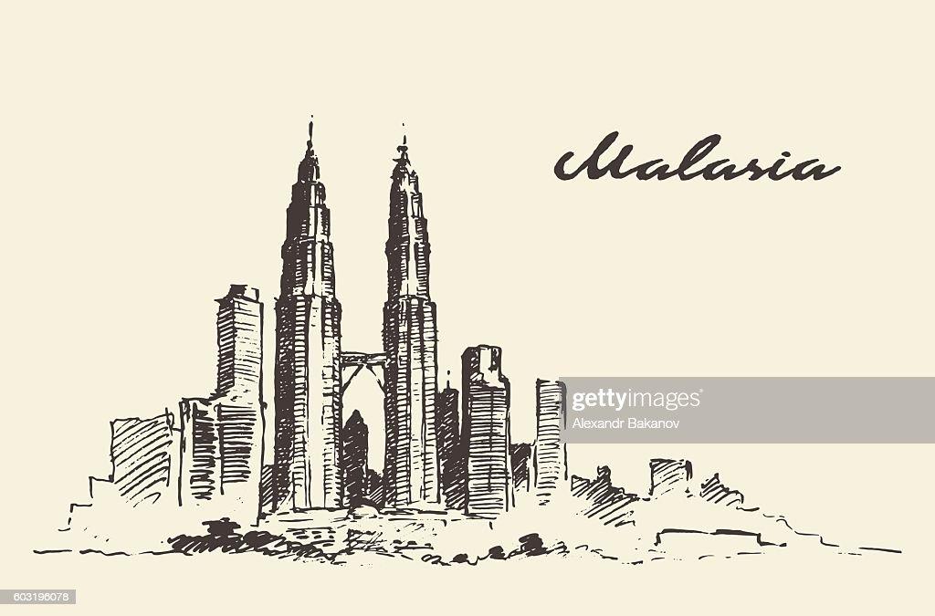 Kuala Lumpur skyline Malaysia illustration drawn.