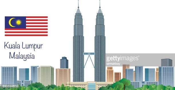 kuala lumpur skyline - petronas towers stock illustrations