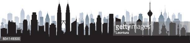 ilustrações, clipart, desenhos animados e ícones de kuala lumpur skyline (todos os edifícios são detalhados e completam) - malásia