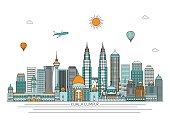 Kuala Lumpur skyline. Vector line illustration. Line style design