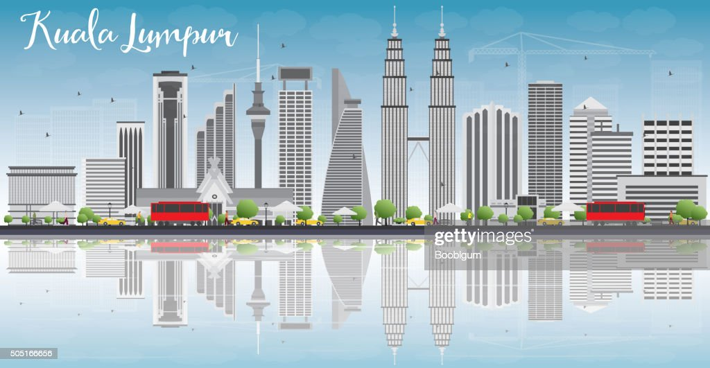 Kuala Lumpur Skyline with Gray Buildings and Reflections