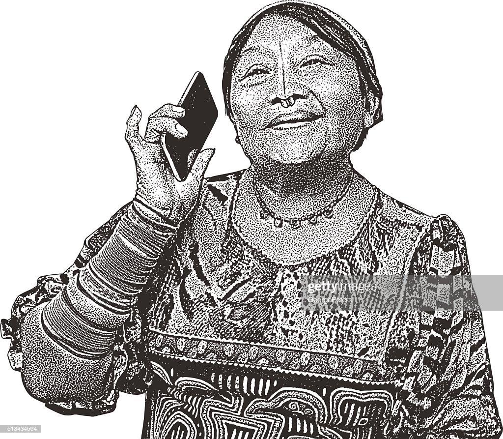 Kuna Indian Woman Encountering Modern Technology : stock illustration