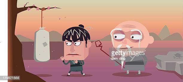 illustrazioni stock, clip art, cartoni animati e icone di tendenza di kung fu - praticare