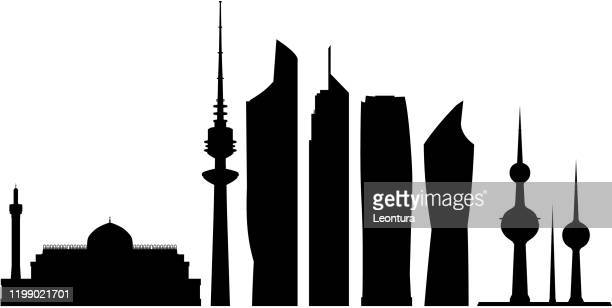 kuwait city buildings - persian gulf countries stock illustrations