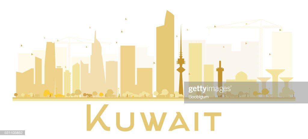 Kuwait City skyline golden silhouette.