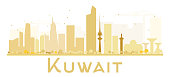 Kuwait City skyline golden silhouette.