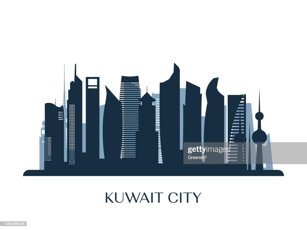 Kuwait city skyline, monochrome silhouette. Vector illustration.