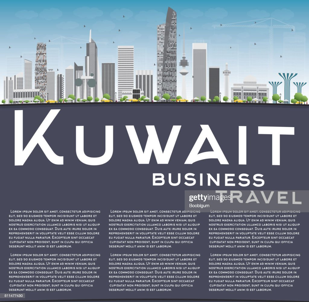 Kuwait City Skyline with Gray Buildings and Copy Space.