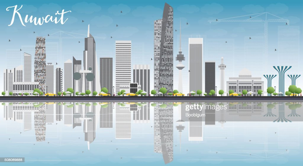 Kuwait City Skyline with Gray Buildings, Blue Sky and Reflection